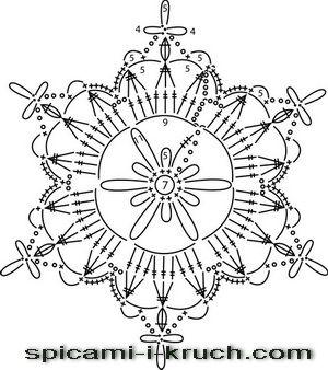 снежинка крючком схема 1