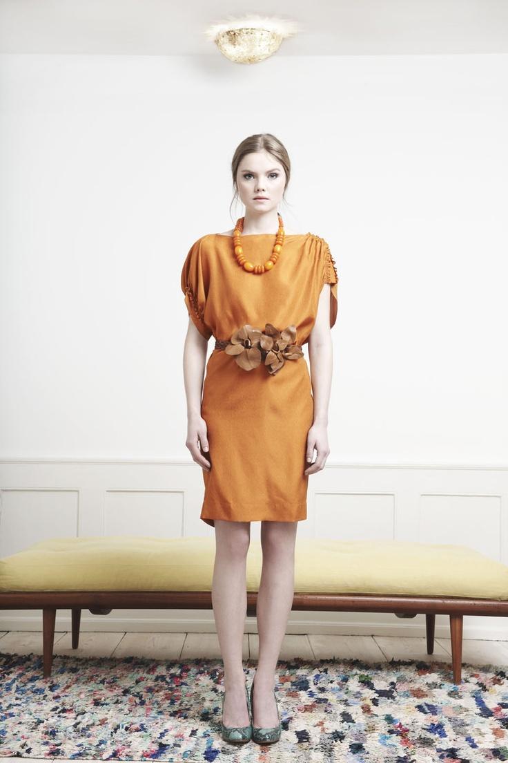 Rützou pumpkin orange asymmetric silk dress