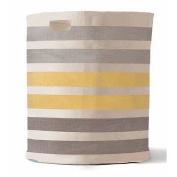Pehr Designs Grey 3 Stripe Hamper - Canvas Storage - Purple Rose Home