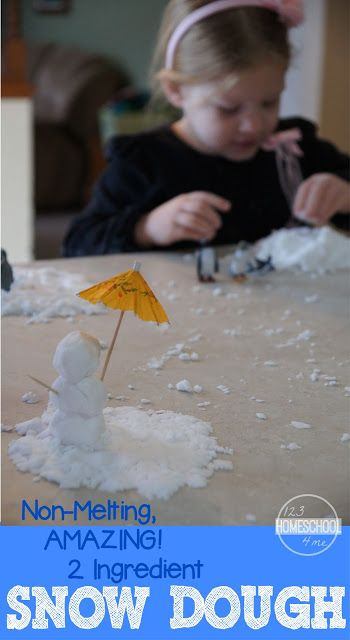 """AMAZING, Non Melting, 2 Ingredient Snow Dough!!! Feels like real snow and kids can """"build"""" with it too! This stuff is so easy to make. Fun sensory activity for toddler, preschool, kindergarten, 1st grade, and 2nd grade kids. (play, kids activities, winter activities for kids, playdough recipe, family fun)"""