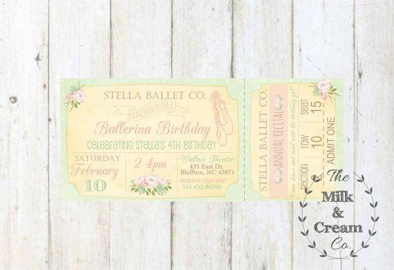 Ballet Ticket Girls Birthday Invite Ballet by themilkandcreamco