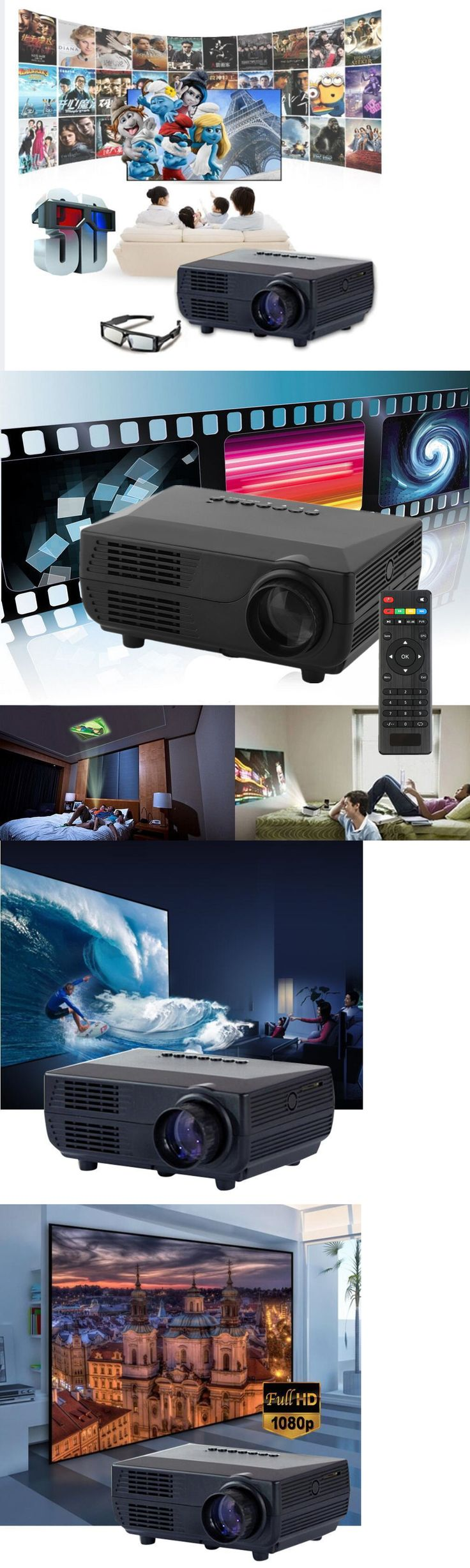 Home Theater Projectors: 3000Lumens 1080P Led Projector Full Hd 3D Home Theater Cinema Tv Video Hdmi Pc -> BUY IT NOW ONLY: $49.68 on eBay!