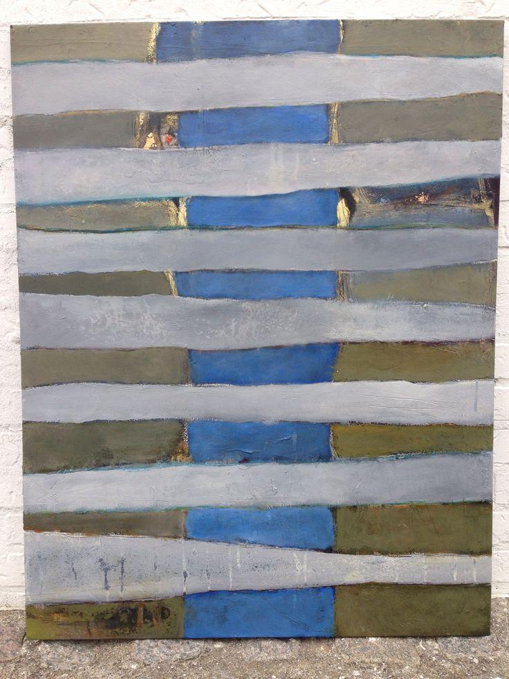 Abstrakt maleri malet af Kathrine van Godt. Stripes / stribet maleri med blå og grå farver. Grå striber