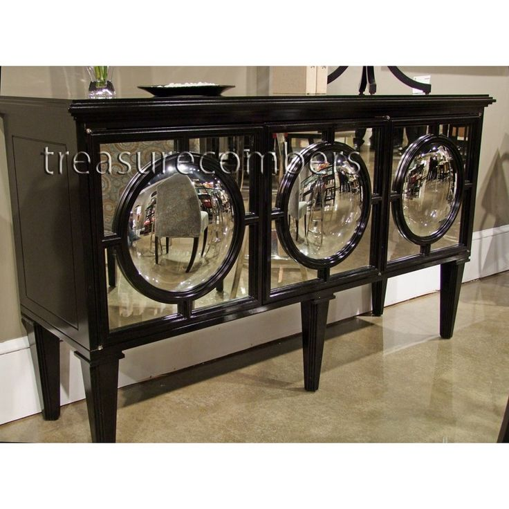 Exceptional Circles Black Mirrored Sideboard Cabinet   Hollywood Regency, Eco Friendly    Treasurecombers