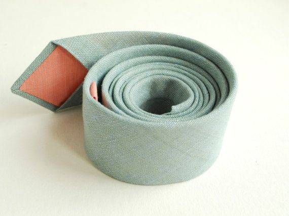Dusty Shale Linen Necktie- Pastel Neck Tie - Pale Teal Neck Tie - Groom's Tie- -Groomsmen Ties- Weddings