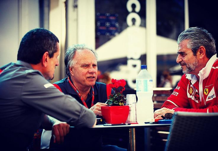 """5,307 Likes, 9 Comments - Haas F1 Team (@haasf1team) on Instagram: """"Talk about 'Power Meeting'. Gene Haas catching up with Guenther Steiner and Ferrari's Maurizio…"""""""