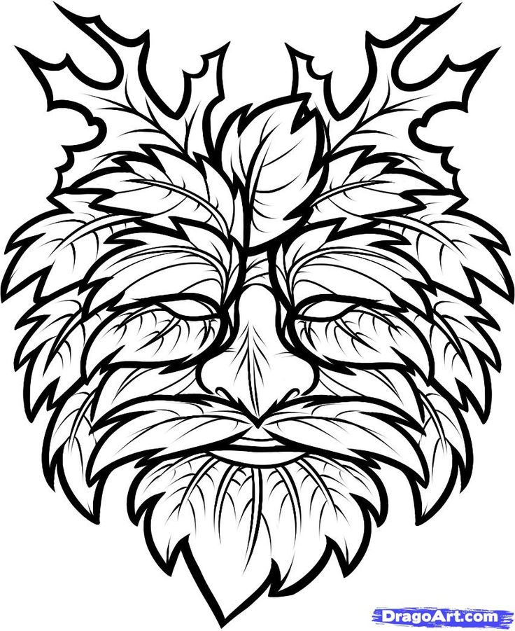 greenman   how to draw the green man, green man step 7
