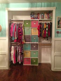 One Thrifty Chick: Quick Fix Closet Organization Two 6 cube organizers stacked on top of one another with a piece of wood in between and secured.