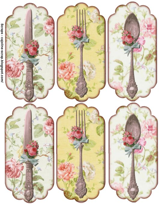 Rose Tags embellished with vintage silverware.