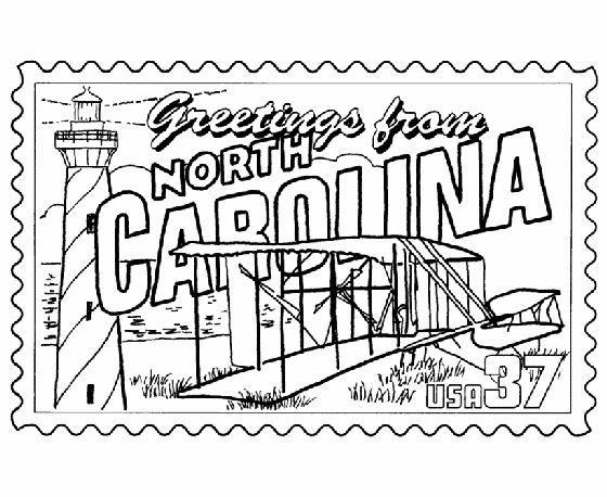 north carolina state stamp coloring page