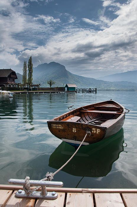 Boat At Talloires Poster By Nicolas Roux