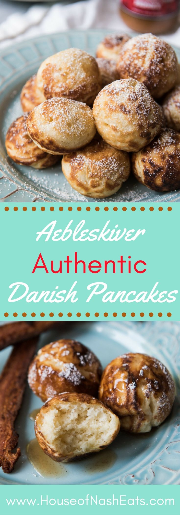 Aebleskiver are authentic puffy Danish pancake balls and a traditional Danish dessert most often served during the Christmas season. Enjoy them year-round as a delicious breakfast treat! #aebleskiver #ebelskiver #danish #breakfast #dessert #Christmas