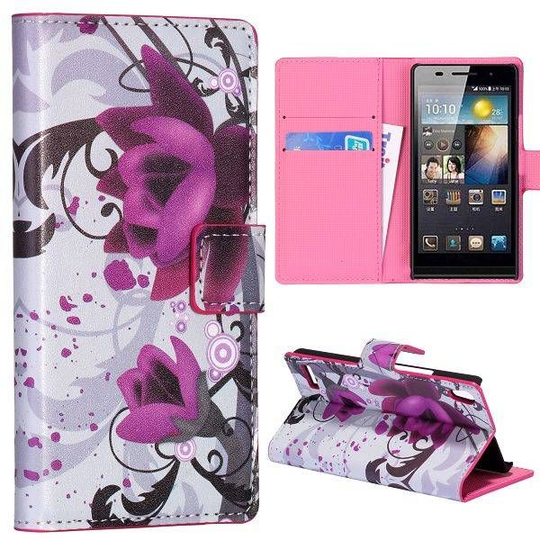 Paarse bloem bookstyle hoesje voor Huawei Ascend P6