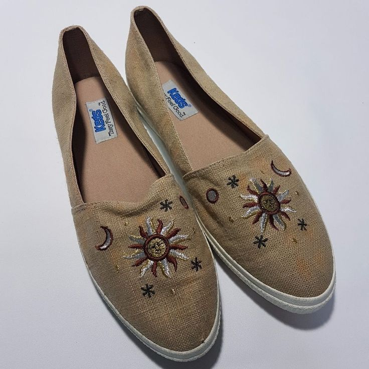 Keds Slip Ons Size 9.5 Tan Canvas Embroidered Sun Moon Stars Celestial Vintage #Keds #Flats #Casual