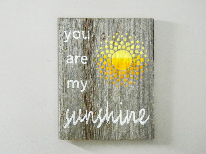 Rustic Nursery Wall Decor : You are my sunshine reclaimed barnwood hand painted