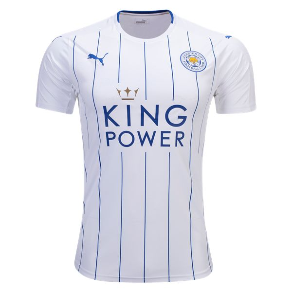Leicester City 16/17 Third Soccer Jersey - What the Foxes will wear during their Champions League debut. The new third jersey is inspired by the popular 1983-84 striped shirt worn by club legend Gary Lineker. The clean and classy pinstripe design is also sure to be a fan favorite. WorldSoccershop.com |