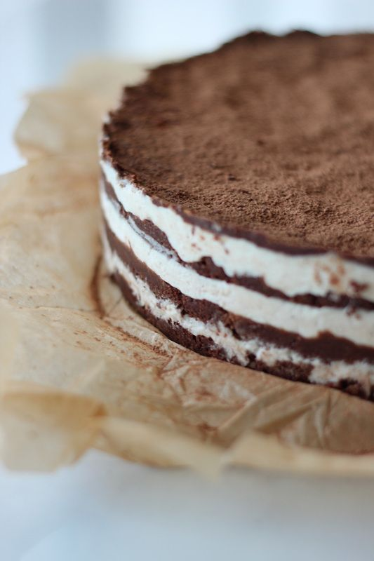 Raw Chocolate Hazelnut + Coconut Cashew Cream Layer Cake