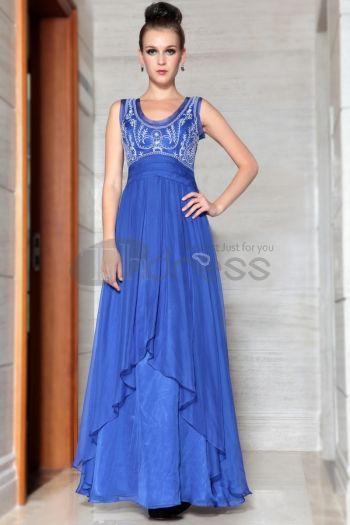 Abiti in Magazzino-a buon mercato eleganti classici blu lunghi abiti di sera con ricami trasporto veloce 30875