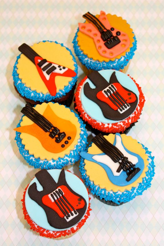 Fondant ROCK STAR GUITAR - Cupcake, and Cookie Toppers - 1 Dozen