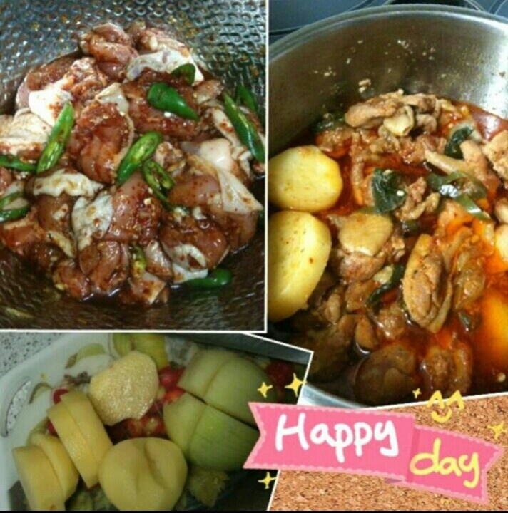 Korean spicy stew made with chicken and potatoes
