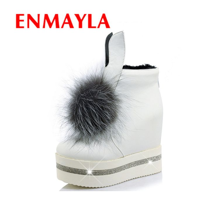Find More Women's Boots Information about ENMAYLA New Fur Ball Charms Shoes Woman High Heels Ankle Boots for Women Winter Warm Shoes 3 Colors White Shoes Fashion Boots,High Quality shoe laces for boots,China boot chain Suppliers, Cheap shoe catalog from YQZ on Aliexpress.com