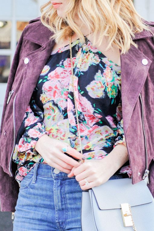 Style   Why You Should Invest in a Suede Jacket - How to style a Floral top with a layered jacket - Oh So Glam Blog