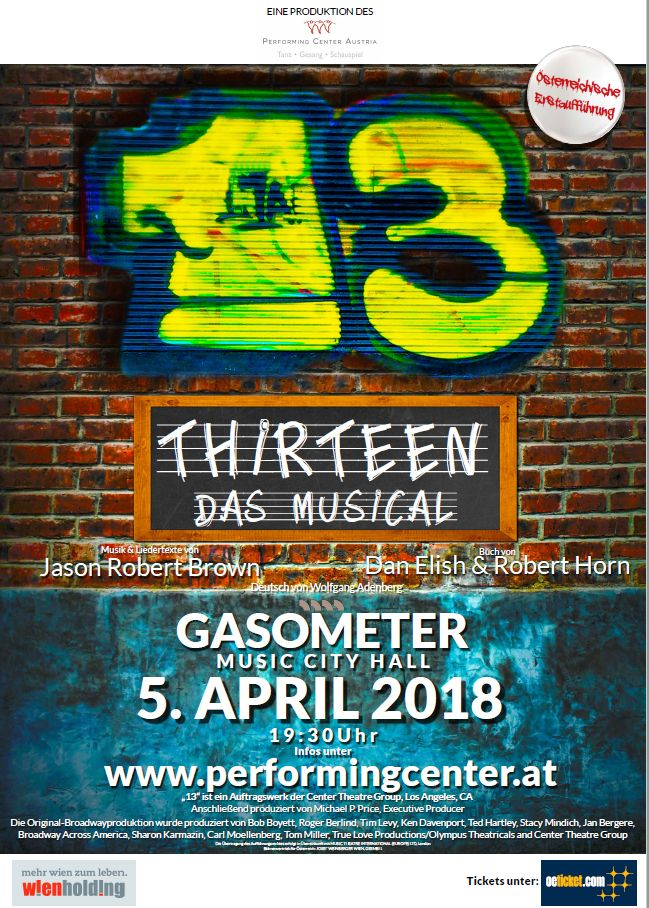 """""""13 - the Musical"""" has its Austrian premiere on the 5th April at the Gasometer Music City Hall. Save the date! #dance #sing #act #13themusical #13musical #musical #artists #performer #new #surprise #instagood #happy #fun #lichter #exciting #theater #bühne #vorfreude #performingacademy #students #bestoftheday #yeswedance #webstagram #wien #vienna @performingcenteraustria"""