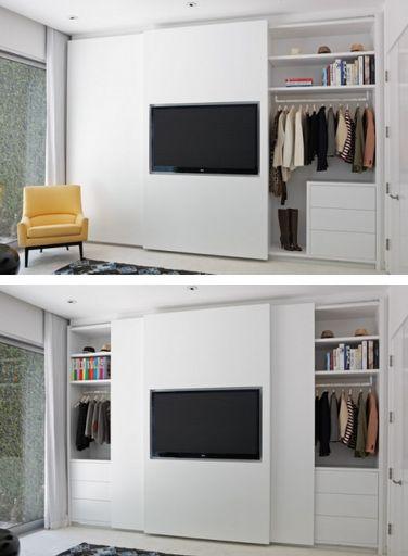 closet doors slide behind the TV  Home Sweet Home  Pinterest  침실 아이디어 ...
