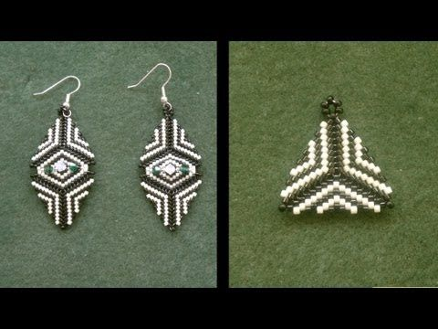 Beading4perfectionists : Earrings : How to bead a triangle with delica beads beginners tutorial