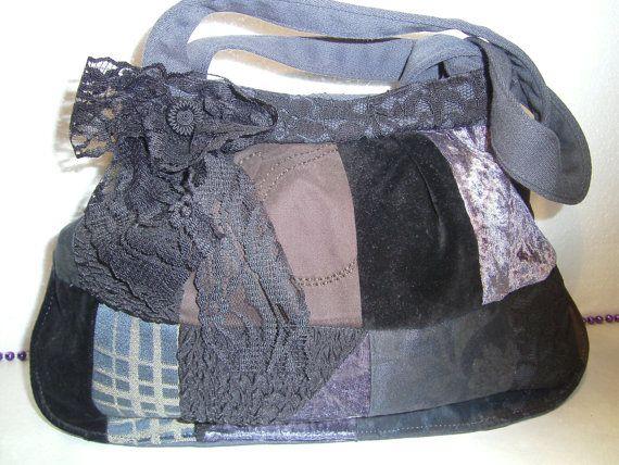 patchworkbag,shoulderbag,black,lace,handmade