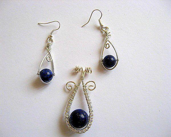 Lapis lazuli pietre semipretioase set pandativ si cercei - transport gratuit - reduceri de pret - idei cadouri femei
