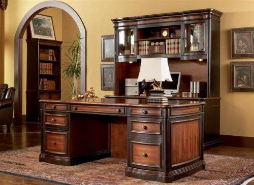 """Grand Style Home Office Desk by Coaster by Coaster Furniture. $1198.90. Features seven drawers, upper drawers are felt lined. Includes power strip and drop front keyboard drawers. Desk is made of hard wood and is wide and comfortable. For computer use purposes includes ball bearing glides. Dimensions: 36""""W x 74""""L x 30""""H. The Grand Style Home Office Desk by Coaster made of hard wood is wide and comfortable. The desk features seven drawers, upper drawers are felt lined. The drawer..."""