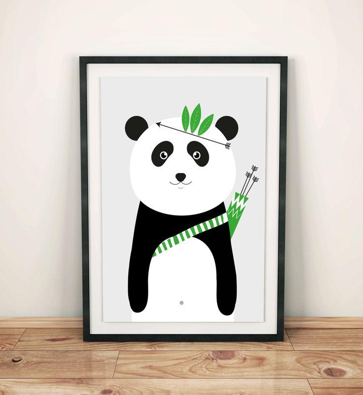 Poster for kids, nursery dekor, nursery wall art, nursery poster, kids poster, kids room, happy panda, dream big, be brave, hero panda by GrafPoster on Etsy