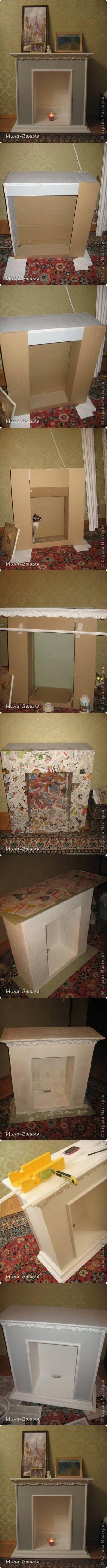 Envie d'une cheminée? Suivez ce tuto: avec du carton et de l'imagination pour une déco personnelle .!!!Juste des bougies (on évite l'incendie) et hop votre séjour est transformé !!!