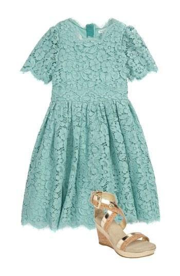 Little Designer Style: Dolce & Gabbana Lace Turquoise Dress