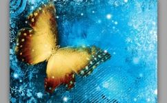 fototapet fluture fundal albastru