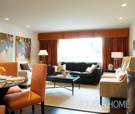 Contemporary Orange Living Room   House & Home