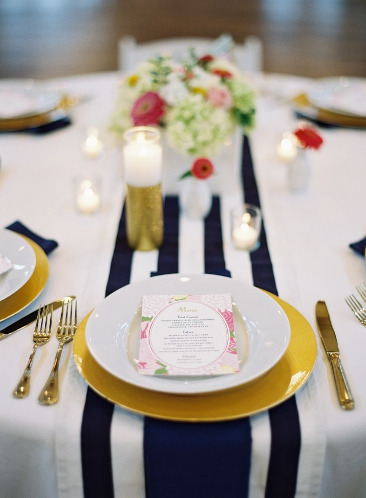 #table-runners, #stripes  Photography: Eric Kelley Photography - erickelleyphotography.com  Read More: http://www.stylemepretty.com/2014/03/27/preppy-striped-charlottesville-wedding/