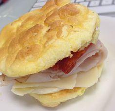 Oopsie Bread.  No flour.  Eggs and cream cheese!