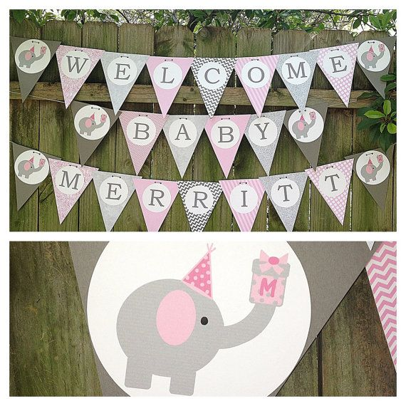 Elephant Themed Baby Shower or Birthday Banner for Girls / Grey & Pink / Baby Girl Shower with Elephants on Etsy, $32.00