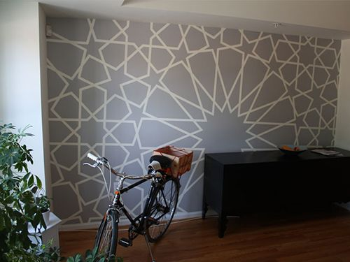 Washi tape wallpaper. Genuis for the temporary renter!