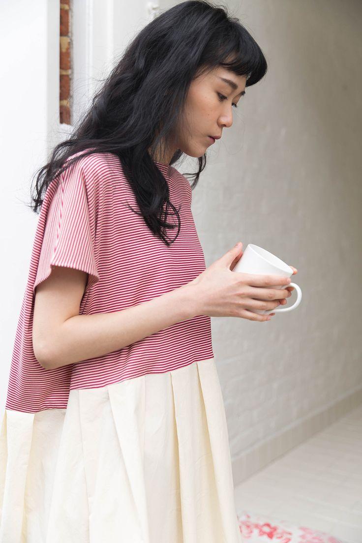 egg // apuntob pinstripe dress