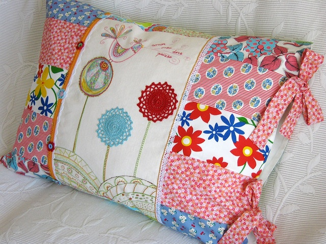 Inspiration: embroidered/applique/patch pillow cover