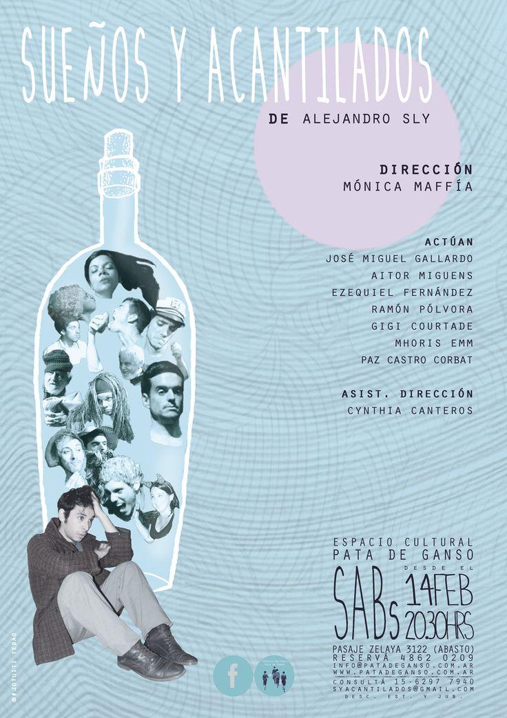 """AFICHE --- obra """"Sueños y acantilados"""" (Buenos Aires, Argentina, feb 2015), de Alejandro Sly, dir. Mónica Maffía"""