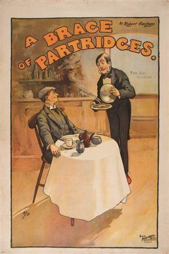 john hassall A BRACE OF PARTRIDGES vintage art poster UNIQUE REALISM 24X36