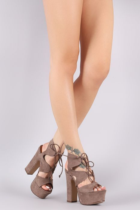 a809619e828c Bamboo Caged Lace Up Platform Chunky Heel
