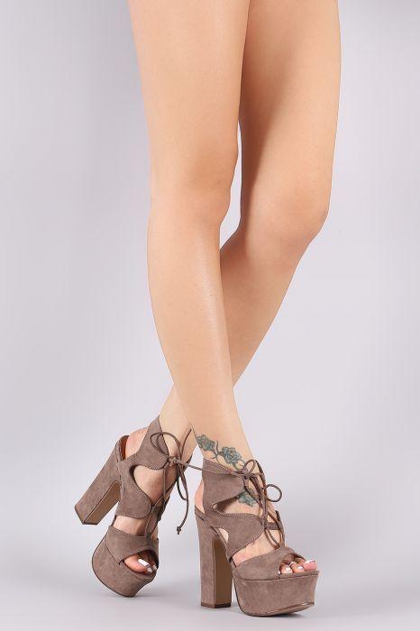 75580b39191 Bamboo Caged Lace Up Platform Chunky Heel