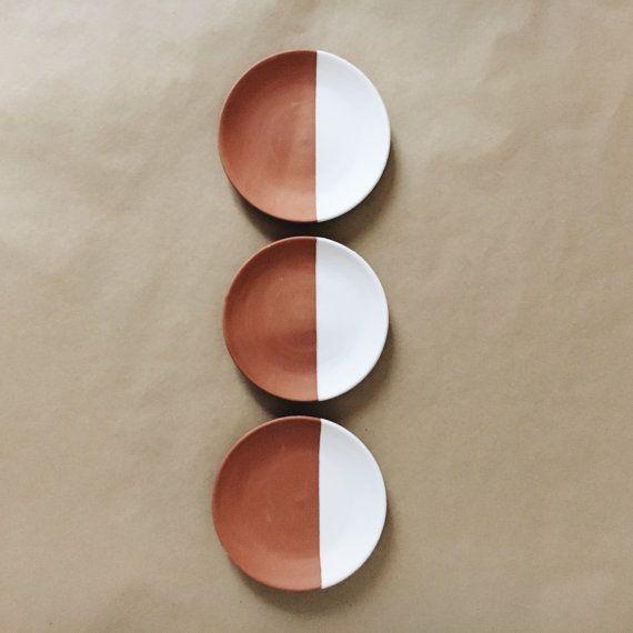 Decorative plates catch all dish white dipped   by AmenamenStudio