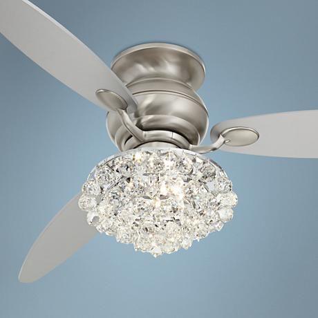 """60"""" Spyder™ Brushed Steel Crystal Hugger Ceiling Fan"""