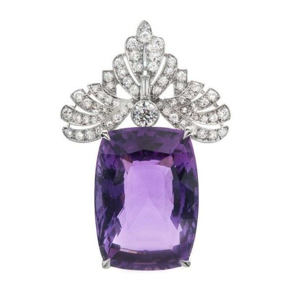 Pre-owned Platinum Amethyst Diamond Pendant ($8,395) ❤ liked on Polyvore featuring jewelry, pendants, platinum pendant, platinum diamond pendant, purple jewelry, amethyst diamond pendant and purple pendant